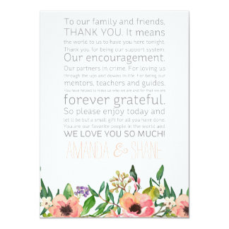 Wedding Place Setting Place Card Thank You Message 11 Cm X 16 Cm Invitation Card
