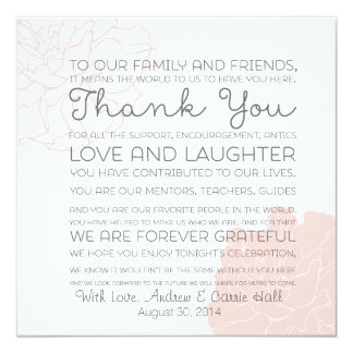 Wedding Place Setting Place Card Thank You Message 13 Cm X 13 Cm Square Invitation Card