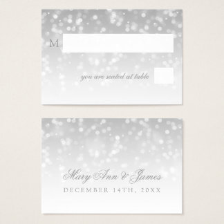 Wedding Placecards Silver Bokeh Sparkle Lights Business Card