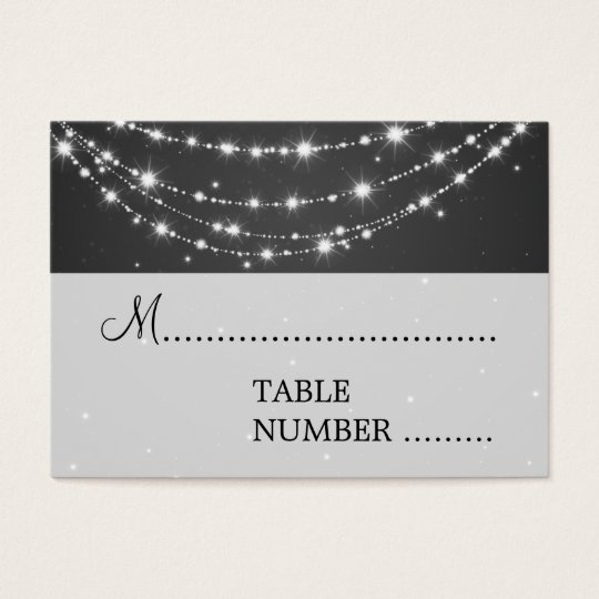 Wedding Placecards Sparkling Chain Black Business Card