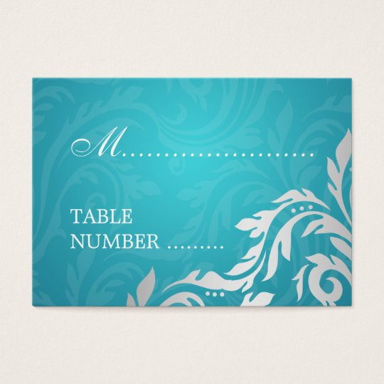 Wedding Placecards Swirly Flourish Aqua Blue Business Card