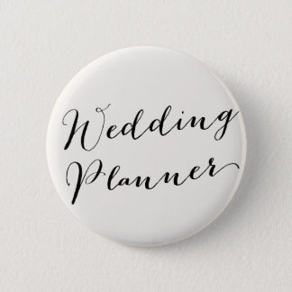 Wedding Planer Calligraphy Bridal Party Button