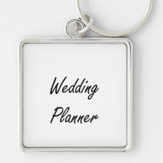 Wedding Planner Artistic Job Design Silver-Colored Square Key Ring