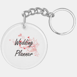 Wedding Planner Artistic Job Design with Hearts Double-Sided Round Acrylic Key Ring