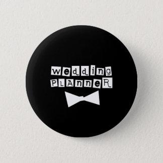 Wedding Planner Bow Tie White on Black 6 Cm Round Badge