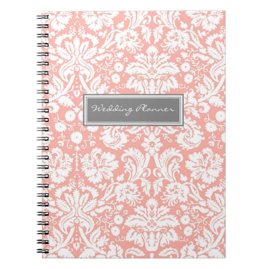 Wedding Planner Coral Grey White Damask Notebook
