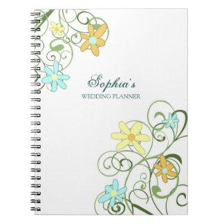 Wedding Planner Custom Name Spring Floral Notebook