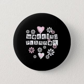 Wedding Planner Flowers White on Black 6 Cm Round Badge