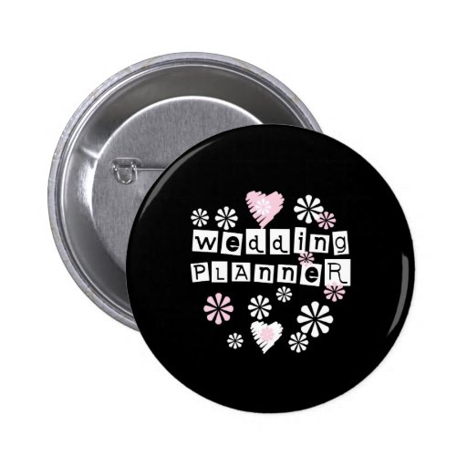 Wedding Planner Flowers White on Black Pinback Button