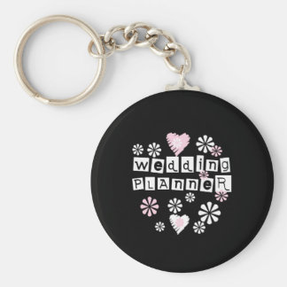 Wedding Planner Flowers White on Black Basic Round Button Key Ring