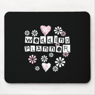 Wedding Planner Flowers White on Black Mouse Pad