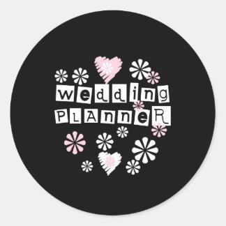 Wedding Planner Flowers White on Black Round Sticker