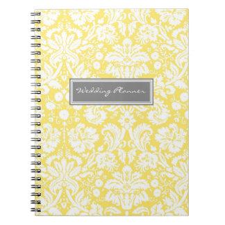 Wedding Planner Lemon Gray White Damask Notebook