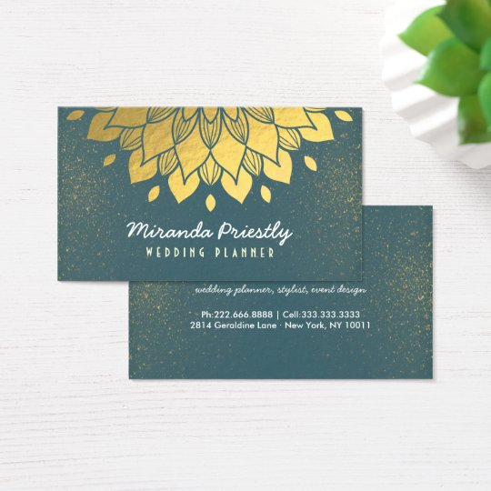 Wedding Planner Makeup Artist Green & Gold Flower