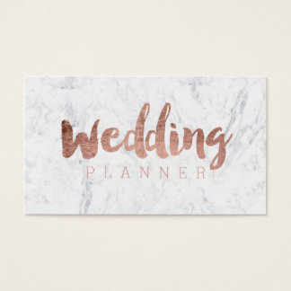 Wedding planner modern rose gold typography marble business card