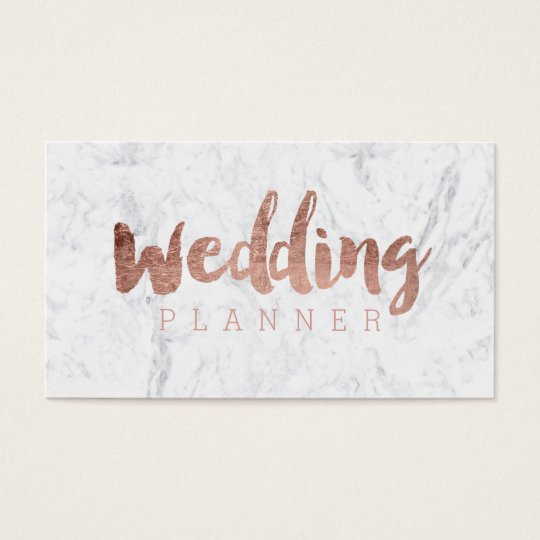 Wedding planner modern rose gold typography marble business