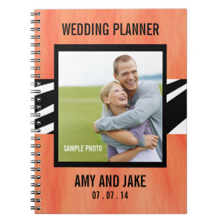 Wedding Planner Notebook Photo Zebra Orange