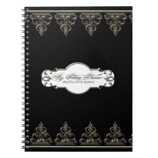 Wedding Planner Personalised Baroque Swirl Silver Spiral Note