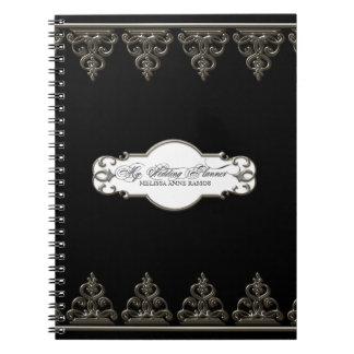 Wedding Planner Personalized  Baroque Swirl Silver Spiral Notebook