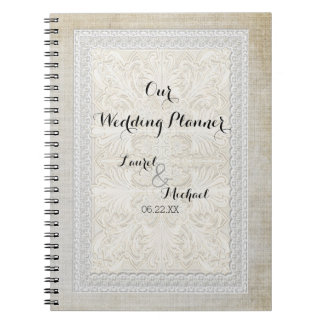 Wedding Planner Rustic Lace w Aged Vintage Linen Notebooks