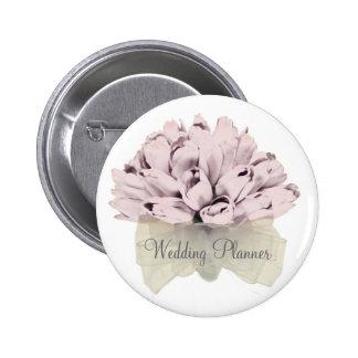 Wedding Planner / The Wedding / Pink Flowers ~ 6 Cm Round Badge