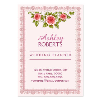 Wedding Planner Vintage Rose Frame Floral Pattern Pack Of Chubby Business Cards