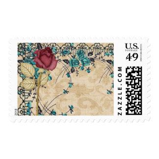 Wedding Postage Teal Burgundy Roses Flowers
