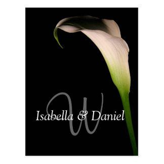 Wedding Postcards Calla Lily W Monograms