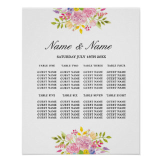 Wedding Poster 8 Seating Pink Floral Flowers Sign