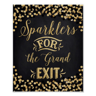 Wedding Poster Black Gold- Sparklers