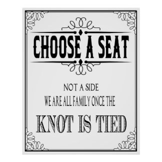 """Wedding poster """"choose a seat"""" Black and white"""