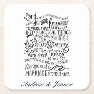 Wedding prayer personalised Favor wedding coaster Square Paper Coaster