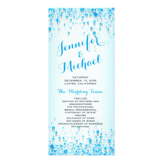 Wedding Program | Aqua Blue Confetti Custom Rack Cards
