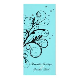 Wedding Program Aqua Blue Floral Elegant Swirl Full Color Rack Card