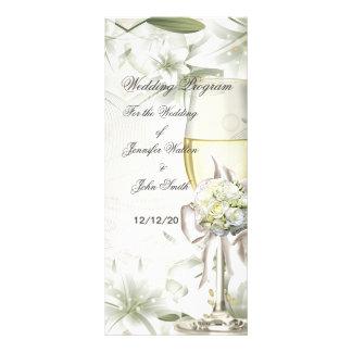 Wedding Program Beige Green Floral Customized Rack Card