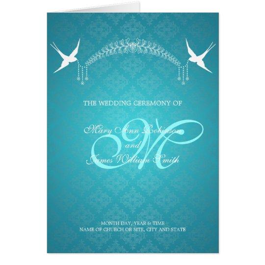 Wedding Program Birds Monogram Turquoise