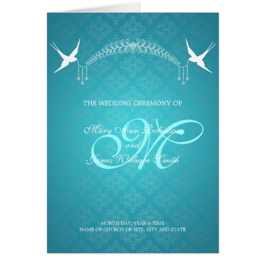 Wedding Program Birds Monogram Turquoise Card