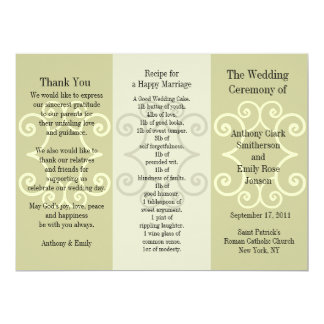 Wedding Program Brochure Beige Curl 17 Cm X 22 Cm Invitation Card