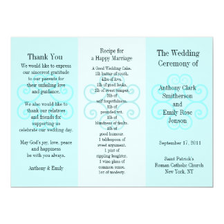 Wedding Program Brochure Blue Curl 17 Cm X 22 Cm Invitation Card