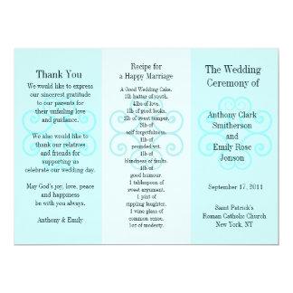 Wedding Program Brochure Blue Curl 17 Cm X 22 Cm Invitation Card