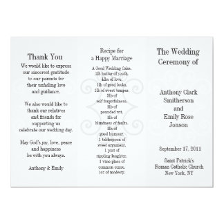 Wedding Program Brochure Grey Curl 17 Cm X 22 Cm Invitation Card