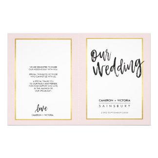 WEDDING PROGRAM brushed lettering gold frame pink 14 Cm X 21.5 Cm Flyer