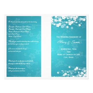 Wedding Program Cherry Blossom Blue 21.5 Cm X 28 Cm Flyer