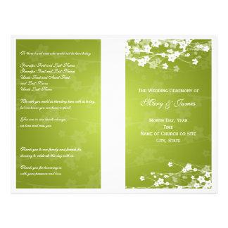 Wedding Program Cherry Blossom Lime Green 21.5 Cm X 28 Cm Flyer