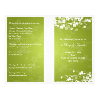 Wedding Program Cherry Blossom Lime Green Flyer