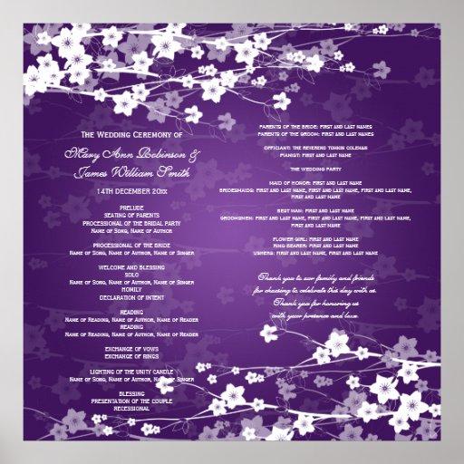 Wedding Program Cherry Blossom Purple Poster