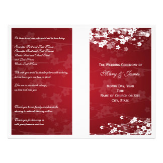 Wedding Program Cherry Blossom Red Flyer