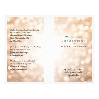 Wedding Program Copper Glitter Lights 21.5 Cm X 28 Cm Flyer