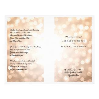 Wedding Program Copper Glitter Lights Custom Flyer