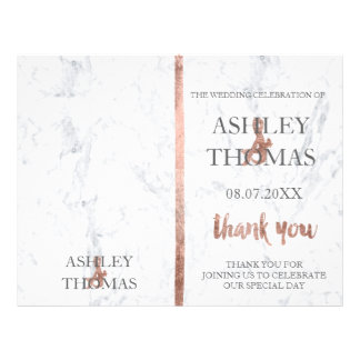 Wedding program cover rose gold typography marble 21.5 cm x 28 cm flyer